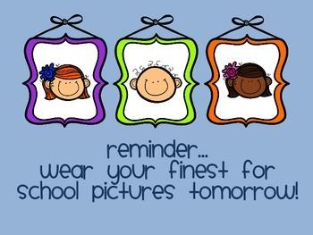 School Pictures Reminder Parent Note