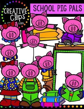 School Pig Pals {Creative Clips Digital Clipart}