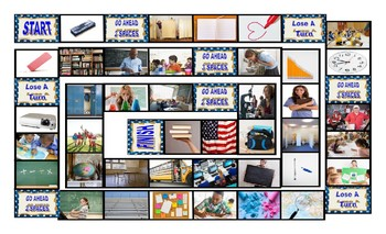 School Items, Places, and Subjects Legal Size Photo Board Game
