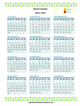 School Planner 2016 2017 Complete (Blue Green)