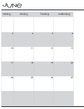 School Planning Calendar June 2018-June 2019 Editable