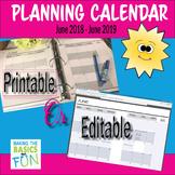School Planning Calendar June 2018-June 2019 Editable