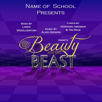 School Play Program Photoshop Template - Beauty and Beast (Logo Included)