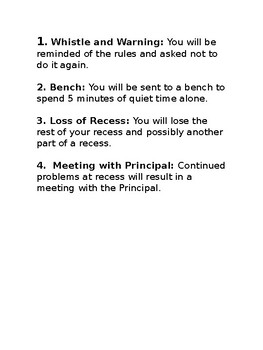 School Playground Recess Rules PreK K 1st 2nd