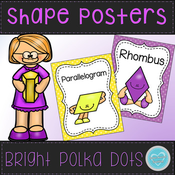 Bright Polka Dot Shapes and Solids Posters