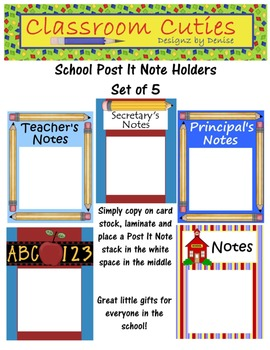 School Post It Notes Holder Set