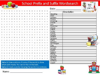 School Prefix Suffix Wordsearch Sheet Starter Activity Keywords Back to School