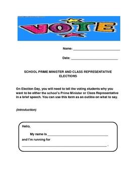 School Prime Minister and Class Representative Speech Outline