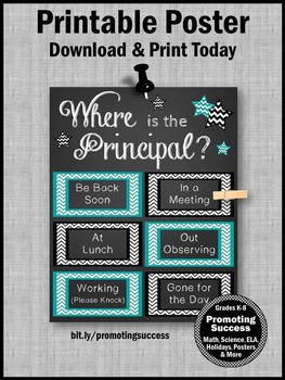 Where is the Principal Poster Teal and Black Office Decor