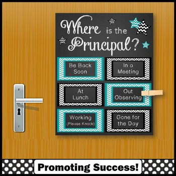 Where is the Principal Sign, Teal and Black Office Door Sign NOT EDITABLE