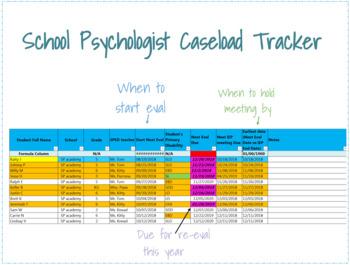 School Psychologist Caseload Tracker (auto-fills!)
