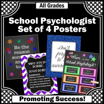 Where is the School Psychologist Door Sign, Psychology Office Decor Posters