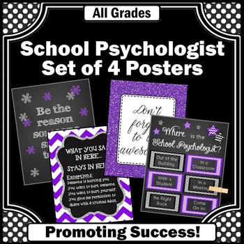School Psychology Posters, Psychologist Office Signs, Confidentiality Rules