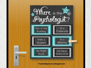 Where is the School Psychologist Office Door Sign Teal and