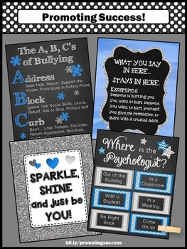 Where is the School Psychologist Poster, Blue and Gray Office Decor BUNDLE
