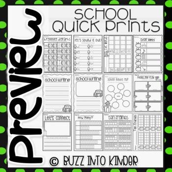 School Quick Prints : No Prep (Back to School Kindergarten)