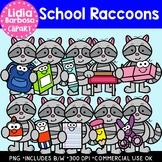 School Raccoons: Digital Clipart