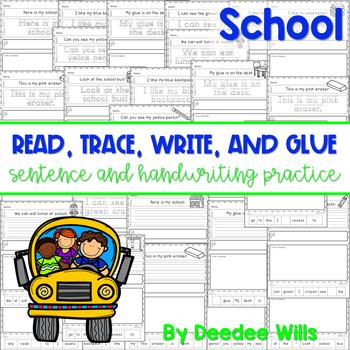 School: Read, Trace, Glue, and Draw