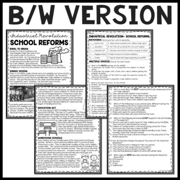School Reforms During the Industrial Revolution Article, Questions, DBQ