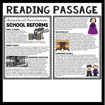 School Reforms During the Industrial Revolution Reading Comprehension