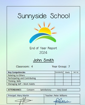 School Report Template 1 Colour Back (Includes New Zealand