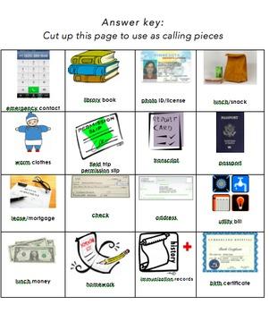 School Communication/Request Bingo - adult ESL vocabulary game