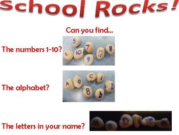 School Rocks! Sensory Bin Poster
