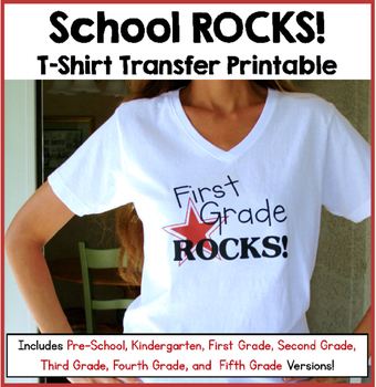 image regarding Printable Tshirt Transfers referred to as Faculty Rocks T-Blouse Transfers FREEBIE: Consists of Preschool and K - 5th Grades!