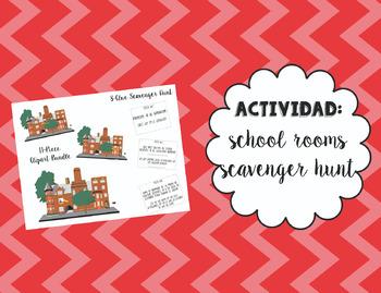 School Rooms Clipart and Scavenger Hunt Bundle