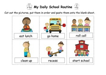 School Routine Activity & Worksheet with Adverbs of Sequence