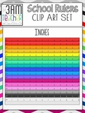 School Rulers in Inches: Clip Art Set