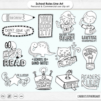 School Rules - Classroom Rules - PNG Digital Stamps & Photoshop Brushes