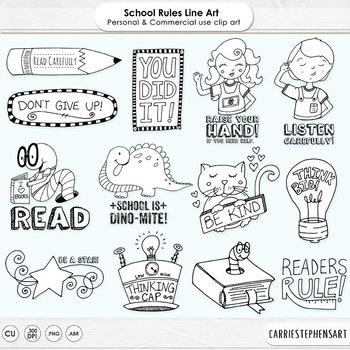 Black Line Art Classroom School Rules, Digital Stamp Illustrations, Thinking Cap