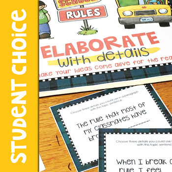 School Rules Writing Task Cards