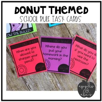 School Rules Task Cards {Editable}