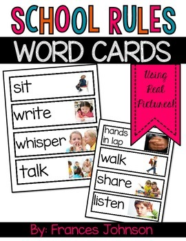 School Rules Word Cards