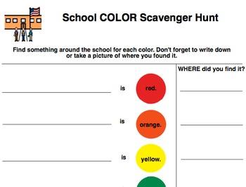 School Scavenger Hunt- Colors