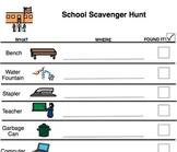 School Scavenger Hunt- Common School Items
