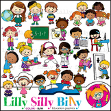 School Schedule - B/W & Color clipart {Lilly Silly Billy}