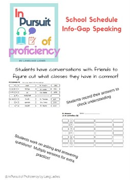School Schedule Info-Gap Speaking Activity (horario de escuela)
