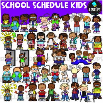 School Schedule Kids Clip Art Bundle (Educlips Clipart)