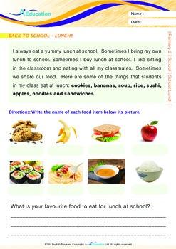 School - School Lunch - Grade 2