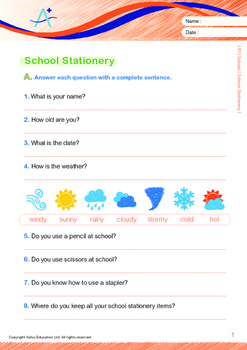 School - School Stationery - Grade 1