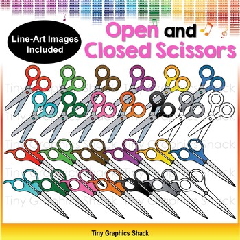 School Scissors Clip Art - open and closed