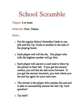School Scramble Rules
