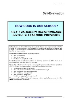 School Self Evaluation Learning and Teaching