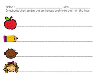 Back to School Unscramble the Sentences