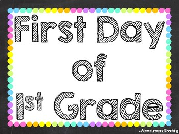 Bright Neon Chalkboard Picture Posters {First Day, 100th Day, Last Day} FREEBIE