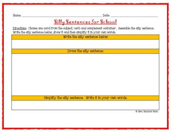 Back to School Word Work- Silly Sentences for Fluent Readers