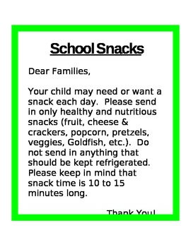 snack letter to parents